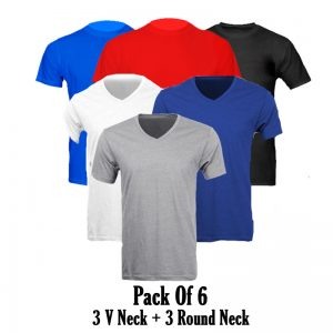 Pack Of 6: 3 V Neck + 3 Round Neck T Shirts For Him