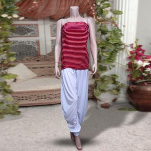 Pack Of 2: 1 Red Strpies Sleeveless Top + 1 White Harem (Patiala) Pants