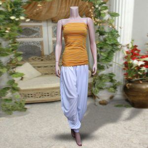 Pack Of 2: 1 Yellow Strpies Sleeveless Top + 1 White Harem (Patiala) Pants