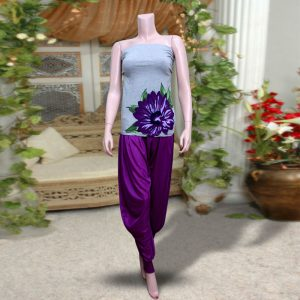 Pack Of 2: 1 Grey Sleeveless Top With Purple Printed Flower + 1 Purple Harem (Patiala) Pants
