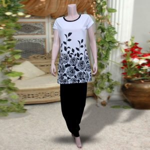 Pack Of 2: 1 Flower And Leaves Printed Top (Black & White) + 1 Black Harem (Patiala) Pants