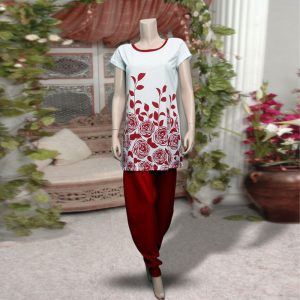 Pack Of 2: 1 Flower And Leaves Printed Top (White & Red) + 1 Red Harem (Patiala) Pants