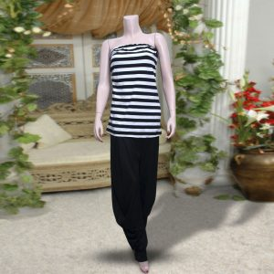 Pack Of 2: 1 Black & White Strpies Sleeveless Top + 1 Black Harem (Patiala) Pants