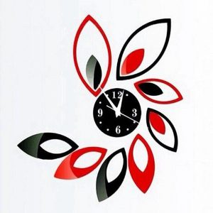 Creative Red & Black Rhombus Leaves Diamonds Wall Clock