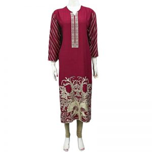 Casual Full Embroidery Stich Kurti With Skin Tights For Her