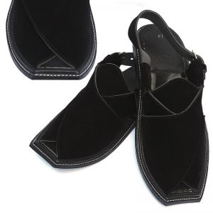 Black Velvet Peshawari Chapli For Men