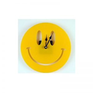 Yellow Smiley Aclyric Wall Clock