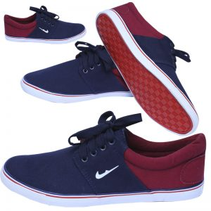 Fashionable Blue And Maroon Color Shoes For Him