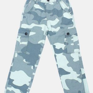 Pack Of 3 Kids Camouflage Printed Cotton Cargo Pants (BPT-506) (Green Camouflage / Dark Green Camouflage / Artic Camouflage)