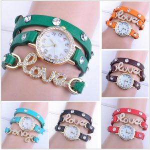 Pack Of 3: Fashion Women Love Pattern Watch Wrap Around Bracelets