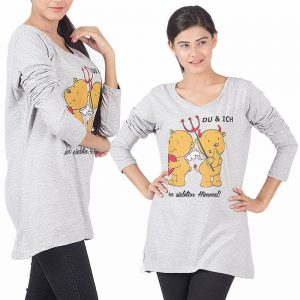 Pack Of 2 Loose Fitting Teddy Print Top For Her
