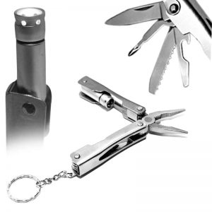 Multifunctional Tools Stainless Steel Keychain With LED Flashlight
