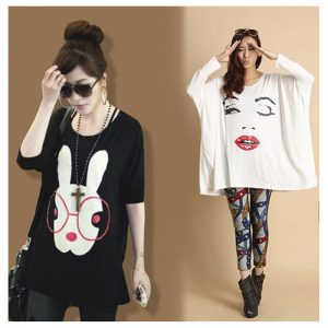 Pack Of 2 Loose Fitting Bunny + Lip Print Top For Her