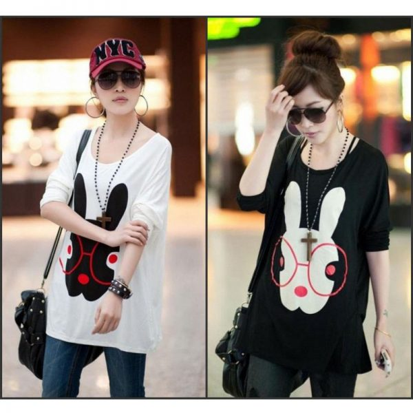 Pack Of 2 Loose Fitting Bunny Print Top For Her