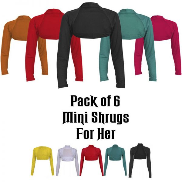 Pack Of 6 Classic & Stylish Mini Shrugs For Her