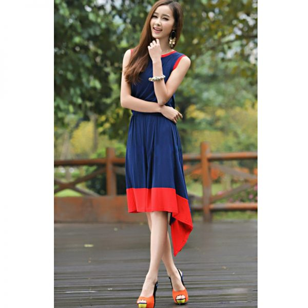 Sleeveless Summer Dress For Women (Blue)