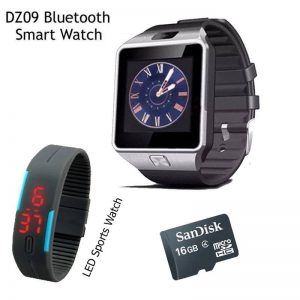 Pack Of 3: Bluetooth Smart Watch + Led Smart Watch + 16 GB Memory Card (GM)
