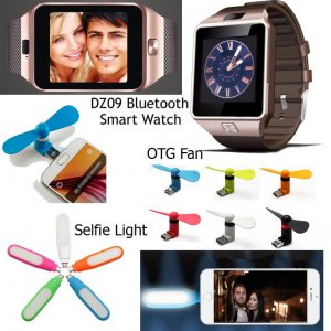 Pack Of 3 Mobile Accessories: 1 Smart Watch DZ 09 Sim Slot And Memory Slot + 1 Mini USB LED Flash Selfie Light For Android Phone + 1 OTG Fan (GM)