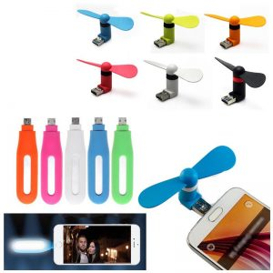 Pack Of 2 Accessorires: 1 Mini USB LED Flash Selfie Light For Android Phone + 1 OTG Fan (GM)