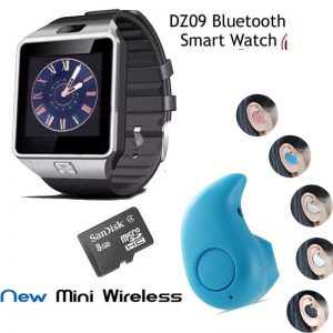 Pack Of 3: Bluetooth Smart Watch + 8 GB Memory Card + Mini Wireless Bluetooth (GM)