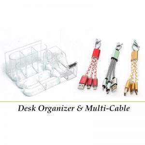 Pack Of 2: 1 Desk Organizer + 1 Multi-Cable For Android & IOS