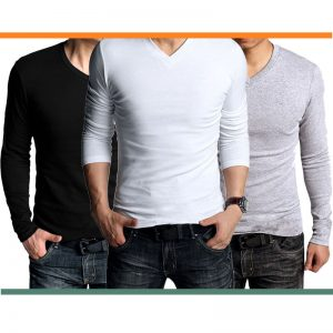 Pack Of 3: V-Neck Full Sleeves T-Shirts For HIM