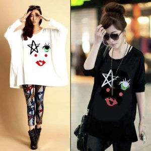 Pack Of 2 Loose Fitting Star And Lip Printed Top