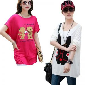 Pack Of 2 Loose Fitting Teddy + Bunny Print Top For Her