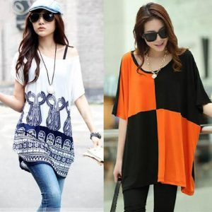 Pack Of 2 Loose Fitting Stylish Blue Top + Black And Orange Top For Her