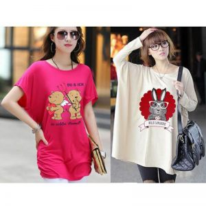 Pack Of 2 Loose Fitting Teddy + Glasses Bunny Print Top For Her