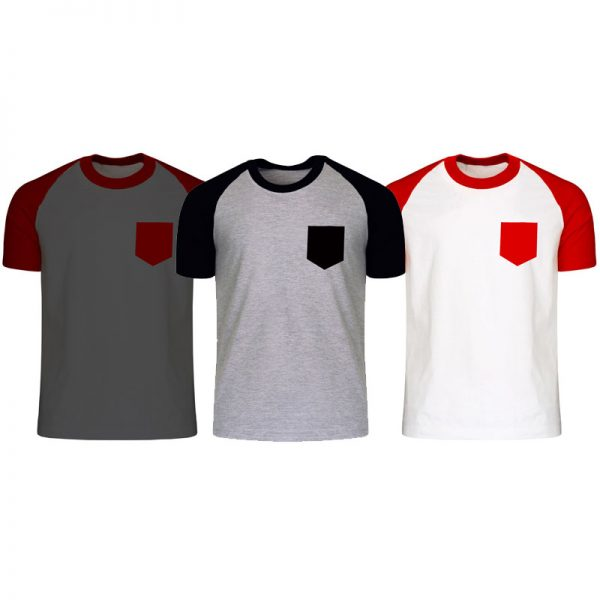 Pack Of 3: Men's Contrasted Raglan With Pocket T-Shirt.